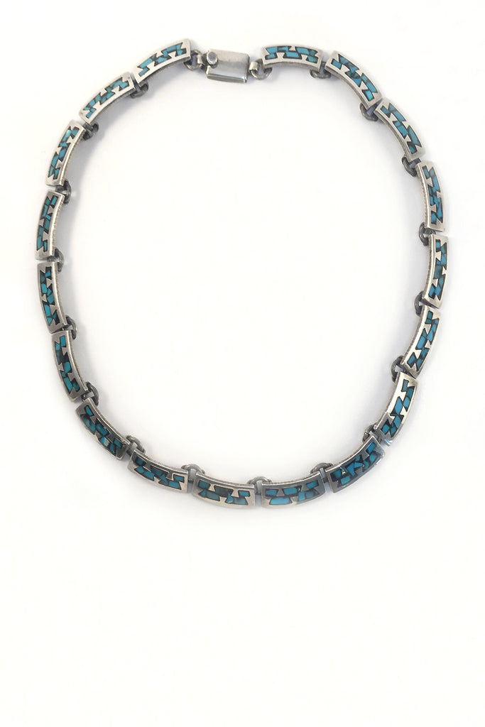 Mexican Taxco Mid-Century Necklace Turquoise and Black Enamel - GEORGE V COLLECTION, Jewelry