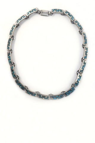 Mexican Taxco Mid-Century Necklace Turquoise and Black Enamel