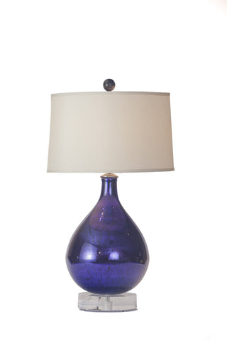Early French Cobalt Blue | Purple Mercury Glass Bottle Lamp