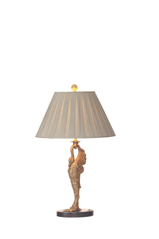 Solid Gilt Bronze with Gilt Swan Lamps