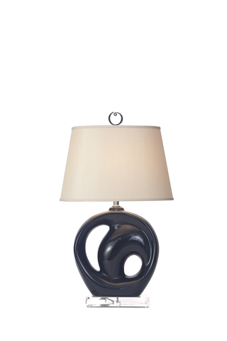 Mirror Black Abstract Lamps with a Circular Design (PAIR)