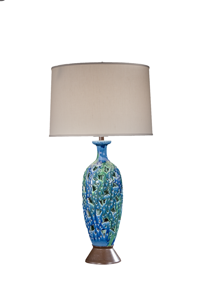 Mid-Century Lamp with a Glaze | Reticulated by Hand - GEORGE V COLLECTION, Table Lamp