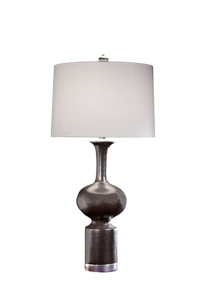 Scandinavian with Chrome Mounts, Brown & Gold Highlights - GEORGE V COLLECTION, Table Lamp