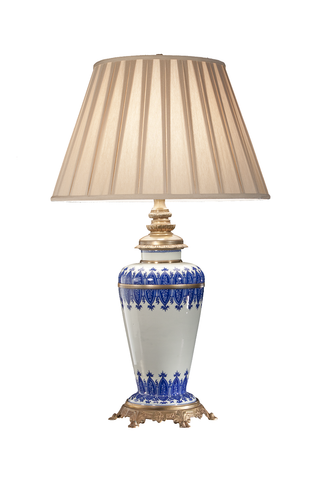 French Circa 1800-1850 Blue and White Porcelain Lamp, Mounted in Gilt Bronze