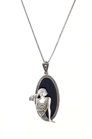 Sterling Silver | Black Onyx | Beautiful Woman Figurine