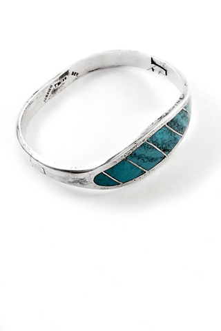 Inlaid Sterling Silver Turquoise Bracelet | Mark