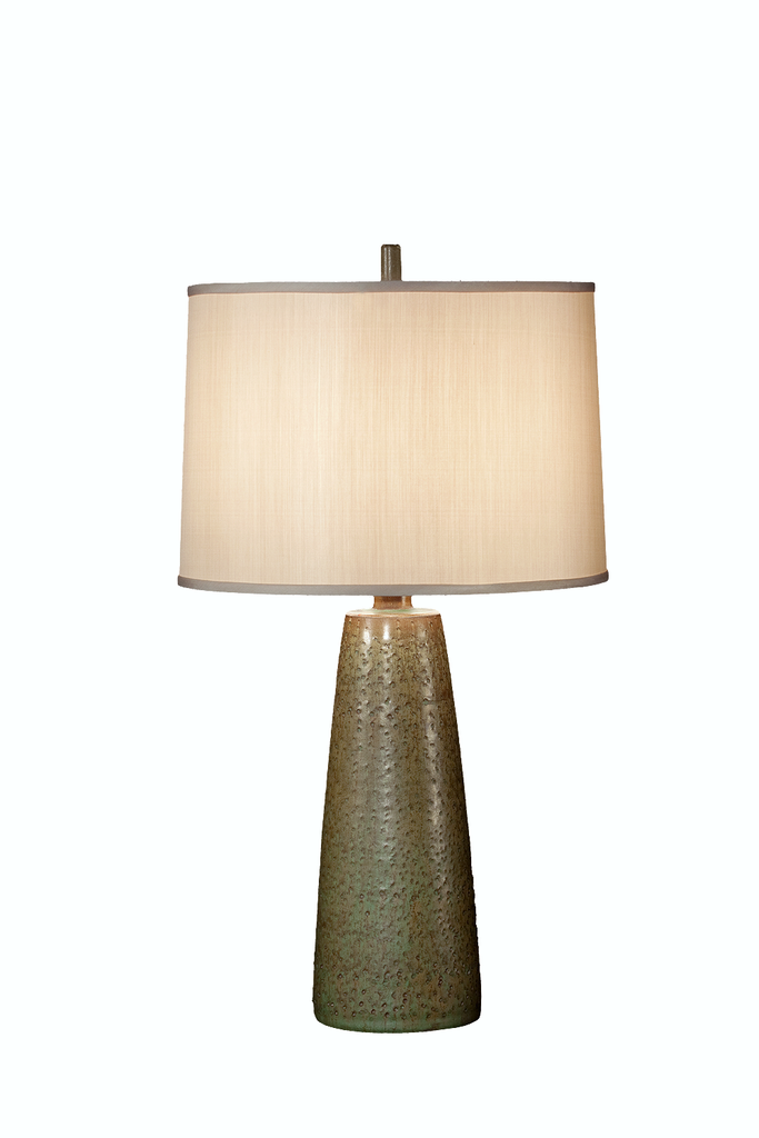 Olive Ceramic Glaze Pottery | Dimpled Glass Table Lamp (PAIR) - GEORGE V COLLECTION, Table Lamp