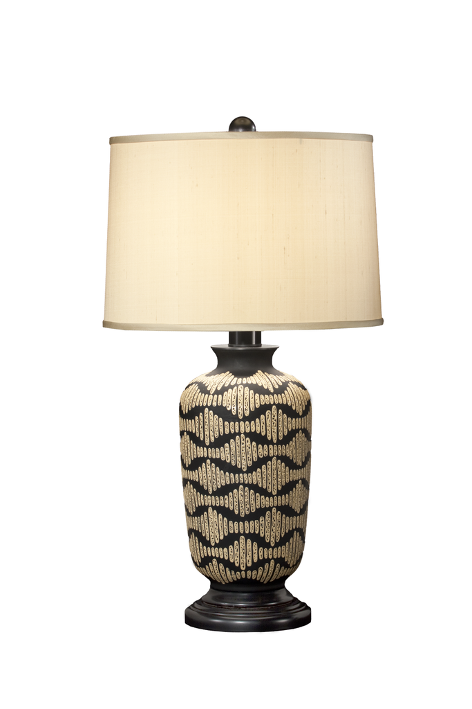 Black Glass Table Lamp | Hand Creme Decoration - GEORGE V COLLECTION, Table Lamp