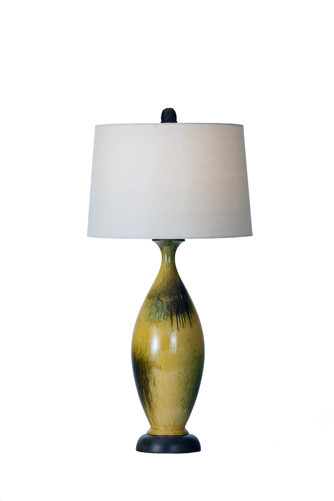 Mid-Century Citrine and Dark Olive Ceramic Lamp - GEORGE V COLLECTION, Table Lamp