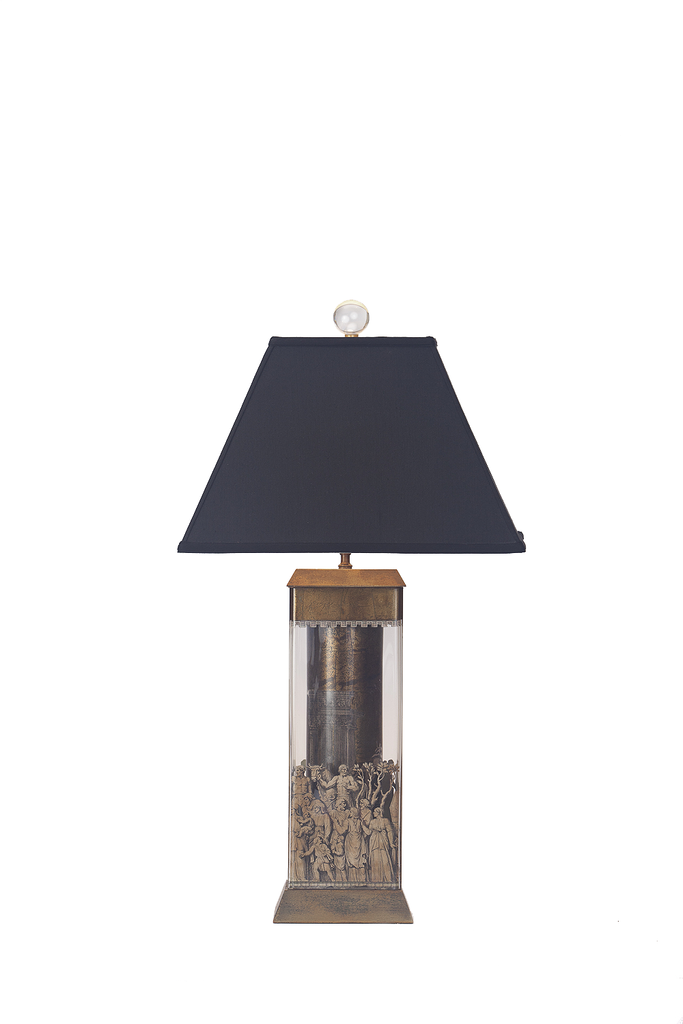 Italian Decopage and Eglomise Lamp - GEORGE V COLLECTION, Table Lamp