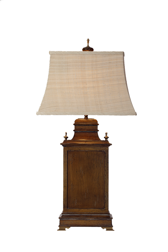 Italian Lamp Distressed Wood and Brass - GEORGE V COLLECTION, Table Lamp