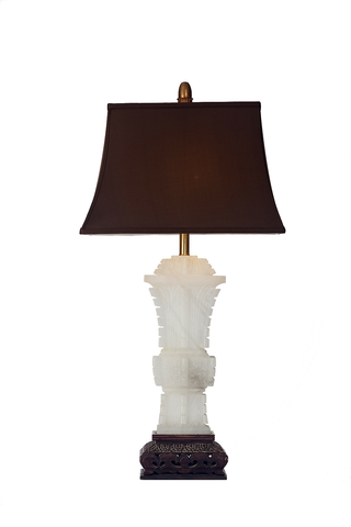 Mid-Century Marbro Carved Alabaster Lamp