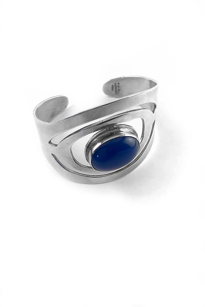 Sterling Silver Cuff | Cut-Out Design | Centered Blue Stone - GEORGE V COLLECTION, Jewelry