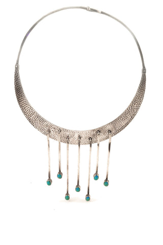 Hammered Silver Plate Choker with Turquoise Accent | Oswaldo Guayasamin
