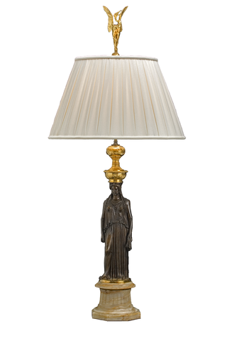 Barbedienne Athenian Bronze Lamp | Pair