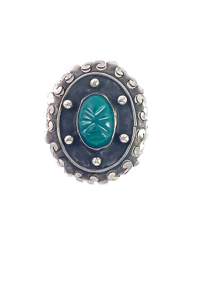 Vintage Brooch Pin | Sterling Onyx Hematite - GEORGE V COLLECTION, Jewelry