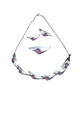 Pink Chrysocolla | Sterling Sculpted Triangles | Necklace | Broache | Earring-clip |