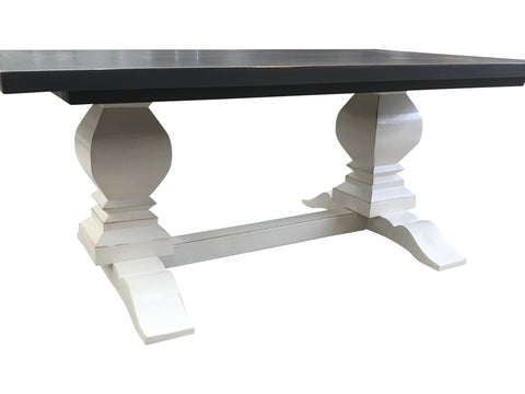... Peppercorn And Dover White Distressed Fancy Farm Table ...