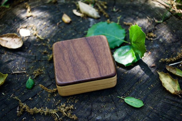 "The Walnut Piccolo Box Shaker (~3.0"" x 3.0"" x 1.0"")"