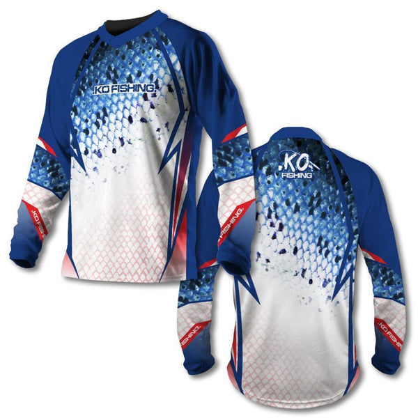 *Red, White & Blue Scale Vented Shirt Series - Long Sleeve Fishing Koss Outdoors