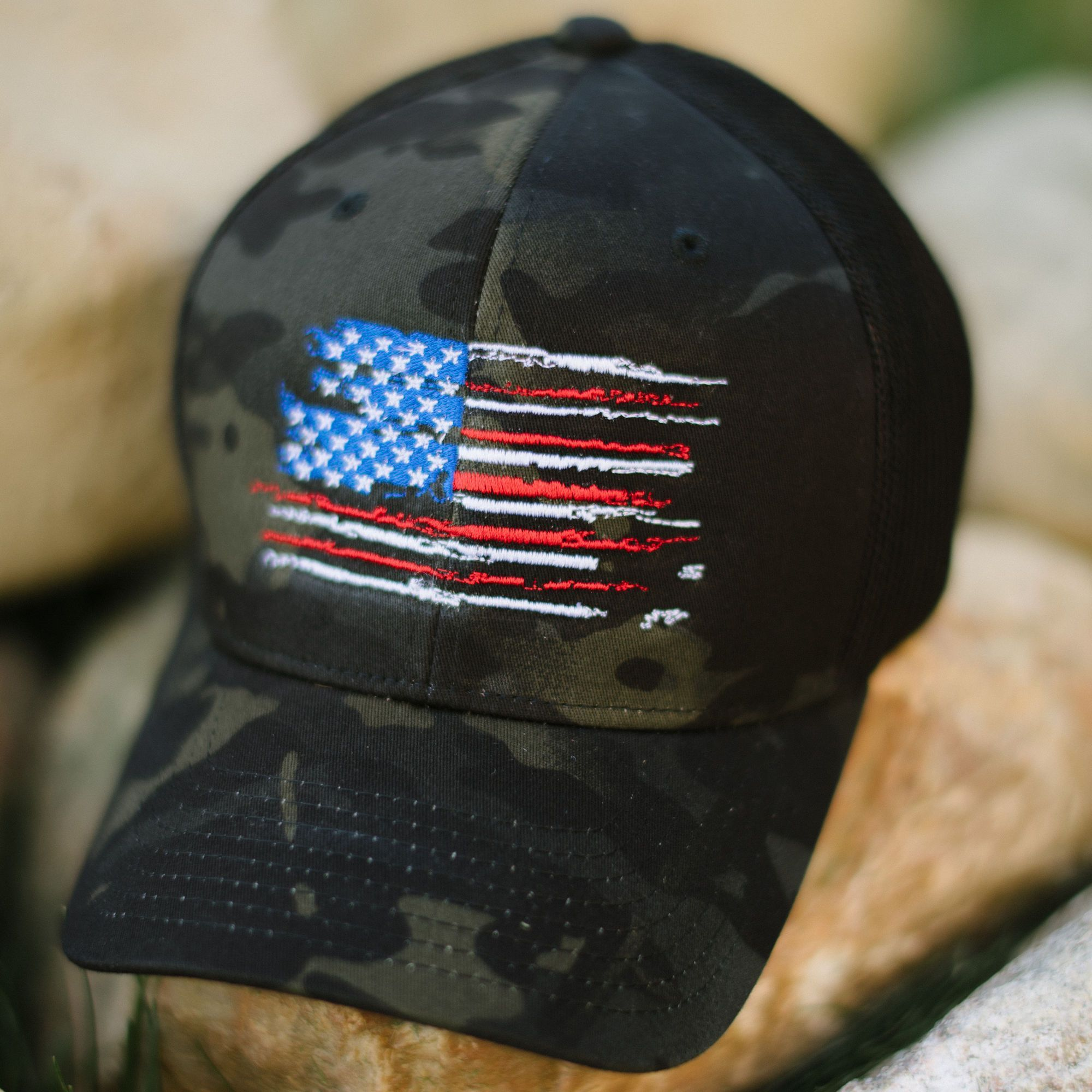 US Flag - MultiCam Black Flexfit Hat Patriotic Koss Outdoors 487b2c47d00