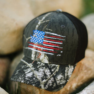 US Flag - Mossy Oak Breakup Flexfit Hat