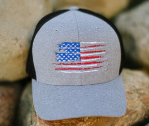 US Flag - Grey Flexfit Hat Patriotic Koss Outdoors