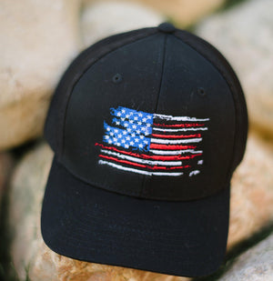 US Flag - Black Flexfit Hat