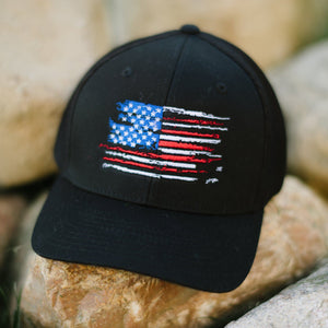 US Flag - Black Flexfit Hat Patriotic Koss Outdoors