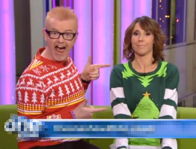 Chris Evans and Alex Jones Wearing Christmas Jumpers