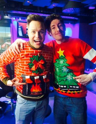 Olly Murs in Flashing Fireplace Christmas Jumper