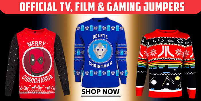 Deadpool and Dr Who Christmas jumpers
