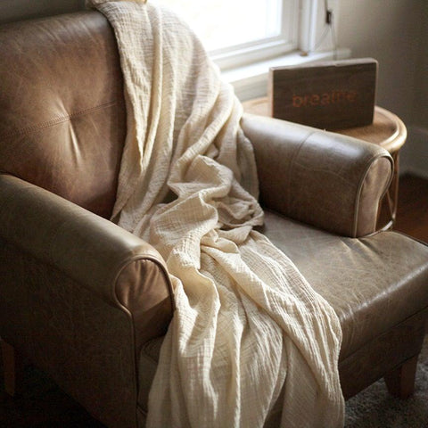 Crinkle Throw Blanket - Cream