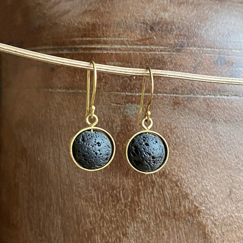 Lava Stone and Brass Earrings