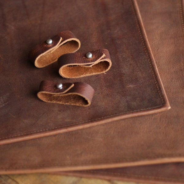 Leather Placemat + Napkin Ring Set