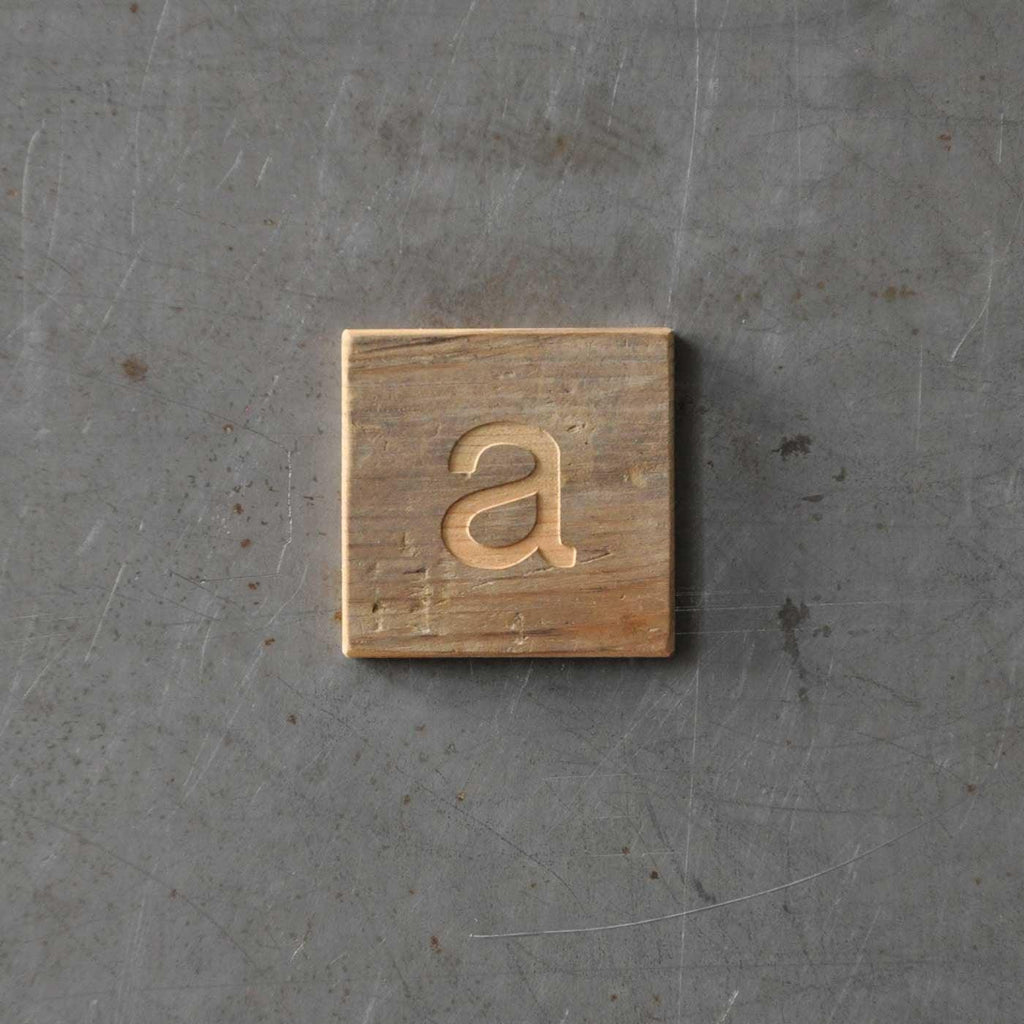 letter a on reclaimed wood magnet
