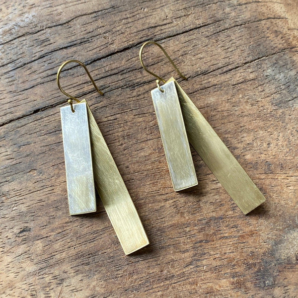 Brass + Silver Earrings