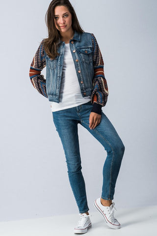 Pattern Knitted Sleeves Denim Jacket