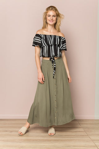 Olive Button Down Long Skirt