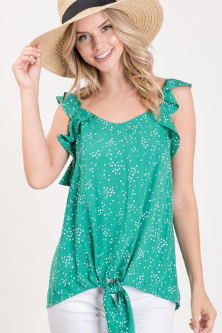 Kelly Green Dotted Print Tank Top