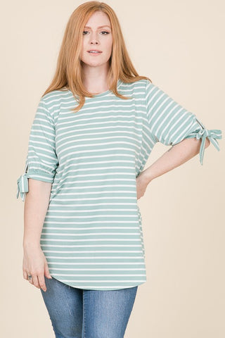 Curvy Mint Striped Tunic with Ribbon Sleeves