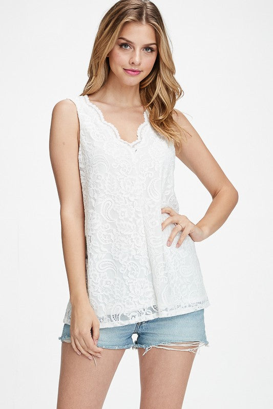 Off White Lace Detail Tank Top