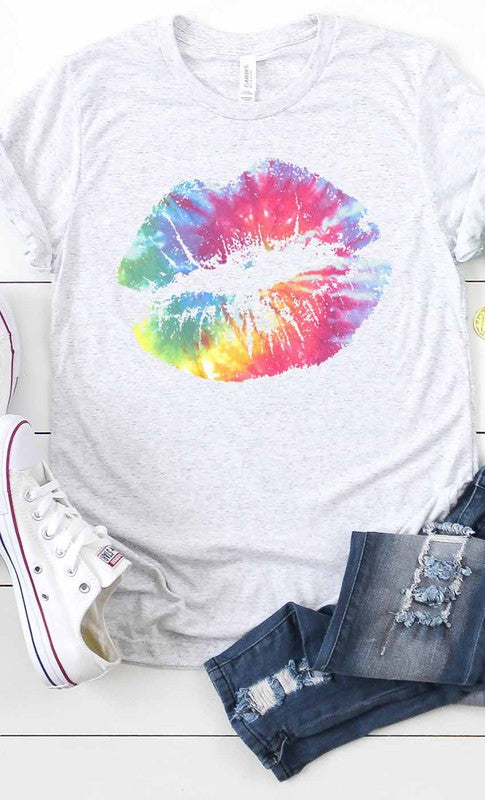 Tie-Dye Distressed Lips Graphic Tee
