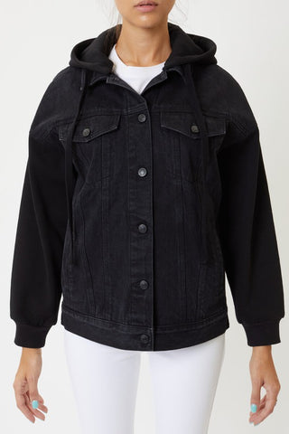 Black Denim Jacket with Hoodie