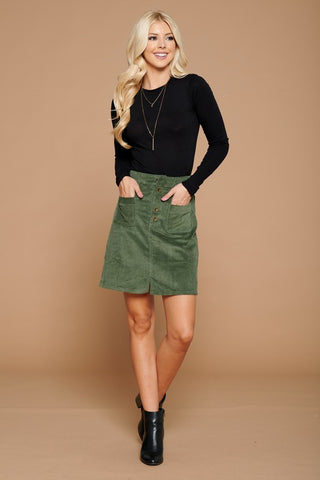 Olive or Black Corduroy A Line Skirt