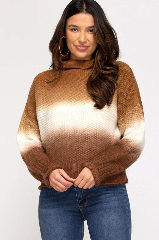 Cinnamon Hi Neck Knit Sweater