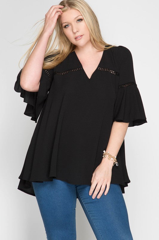 Curvy Black Lace-Up Detail and Lace Trim Top