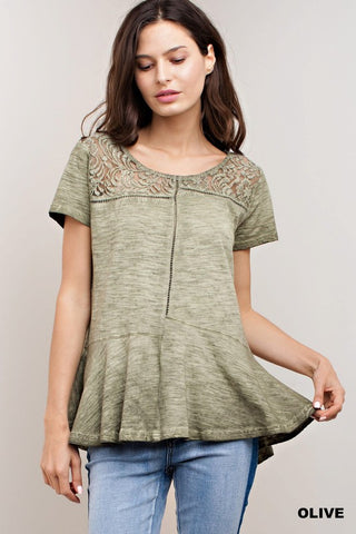 Olive & Lace with Ruffles Top (Small)