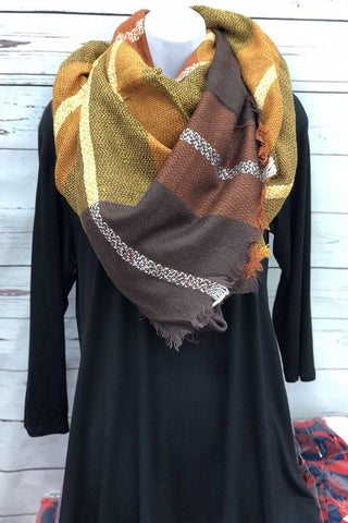 Brown Tone Blanket Scarf