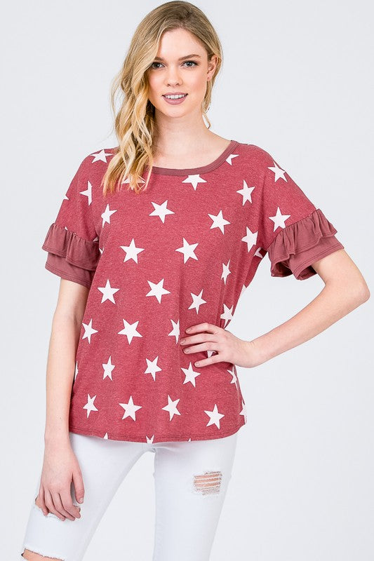 Star Thermal Top with Ruffle Sleeves (Small)